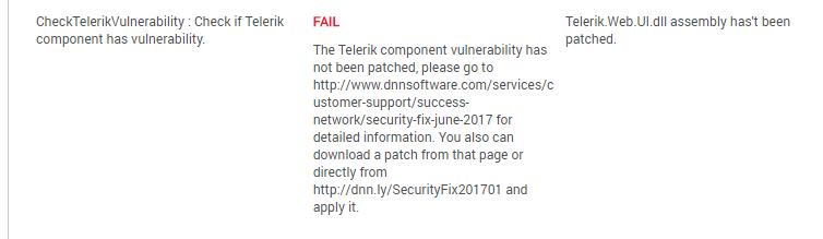 Security Analyzer Persona Bar DNN Check Telerik